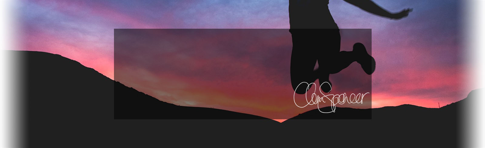 Sillouette of person jumping in foreground with pink sunset behind cornish sanddunes with signature of Clem Spencer, client of Hodgsons Chartered Accountants in Cornwall